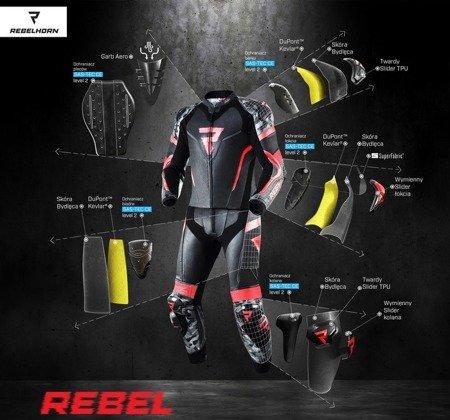 Spodnie skórzane REBELHORN Rebel fluo red